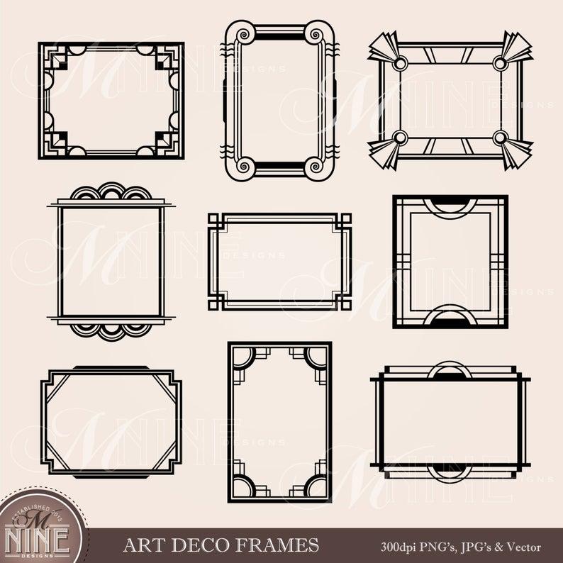 ART DECO FRAME Clip Art: Art Deco Clipart Frames Design Elements Antique  Borders Clipart Black Silhouette, Instant Download.