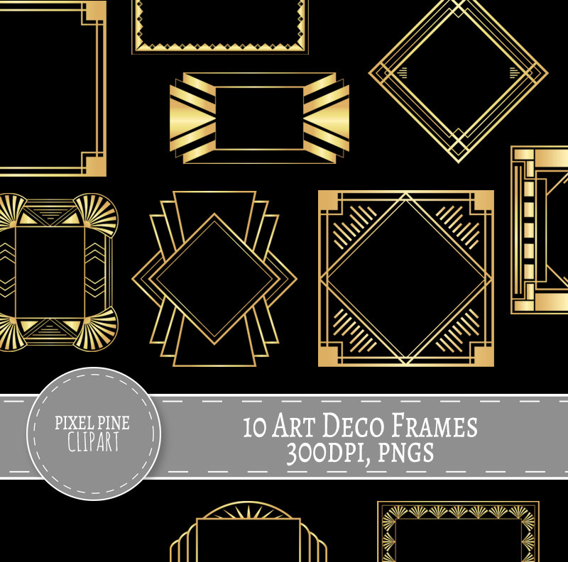 Art Deco Frames Black and Gold, 10 PNGs, Commercial Use, gold gatsby  borders and frame.