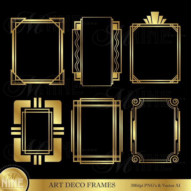 Gold ART DECO FRAMES Clip Art.