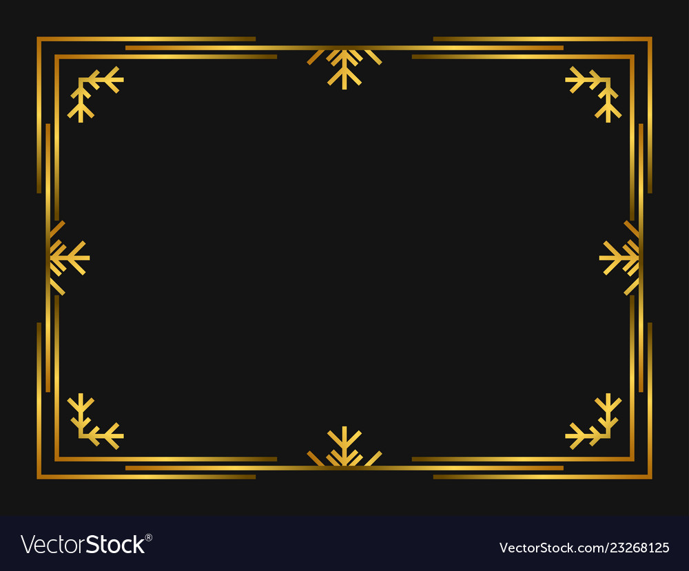 Winter art deco frame golden color christmas.