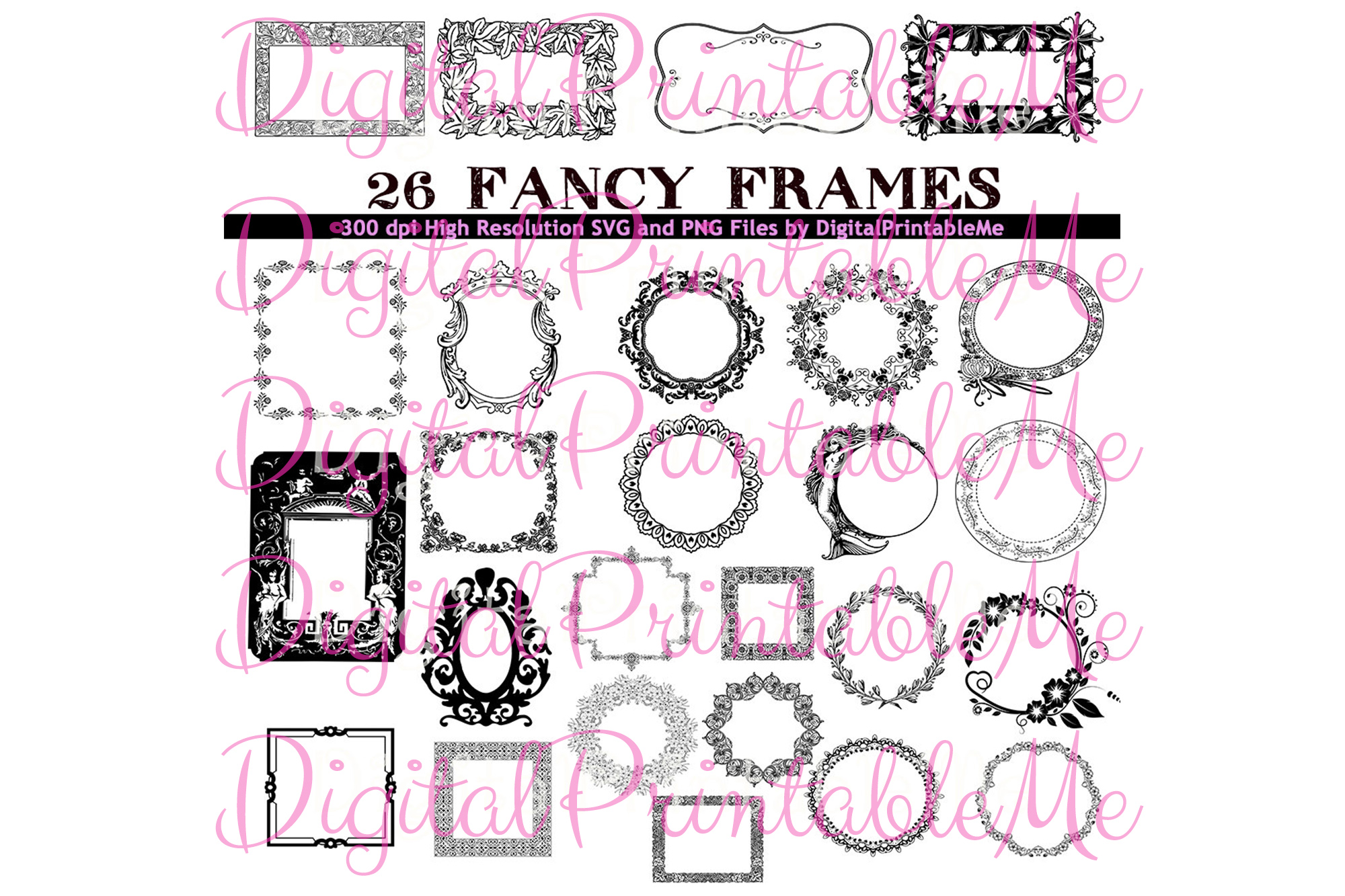 Frame Clip Art Set Art Deco Borders 26.