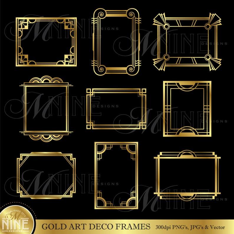 Gold ART DECO FRAME Clip Art: Art Deco Frames Design Elements Deco Borders  Clipart, Instant Download.