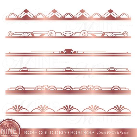 Rose Gold ART DECO BORDER Clip Art / Art Deco Clipart.