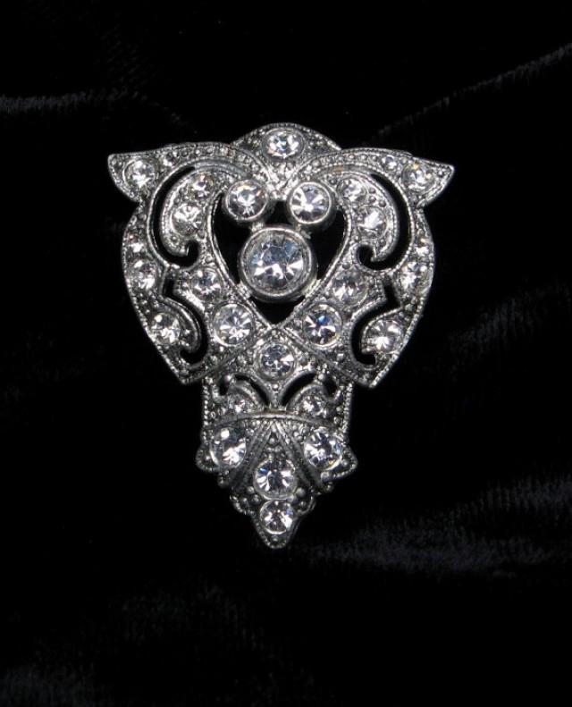 VINTAGE Rhinestone Dress CLIP Art DECO Shoe Fur Pin Brooch.