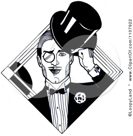 Black And White Art Deco Styled Dandy Gentleman With A.