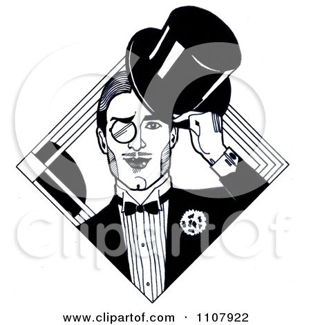 Clipart Black And White Art Deco Styled Dandy Gentleman With.