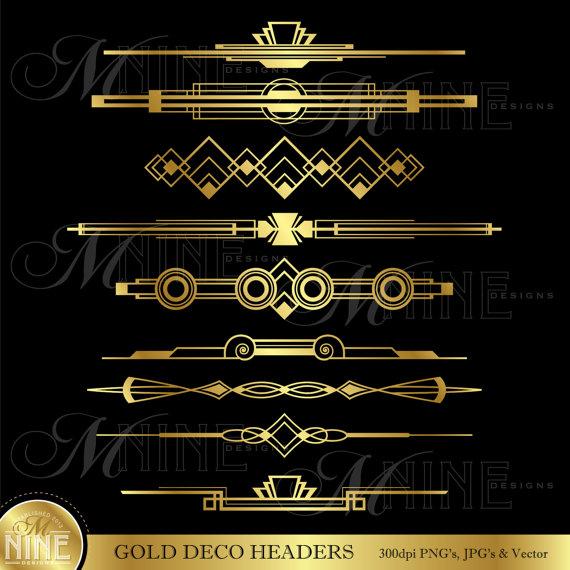 GOLD DECO HEADERS Clip Art: Art Deco Clipart, Instant.