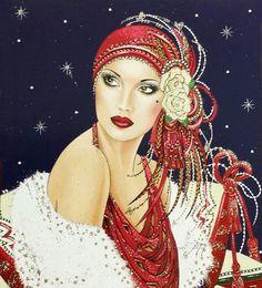 CHRISTMAS LADIES ART DECO STYLE.