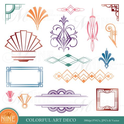 COLORFUL ART DECO Design Elements Digital Clipart, Instant.