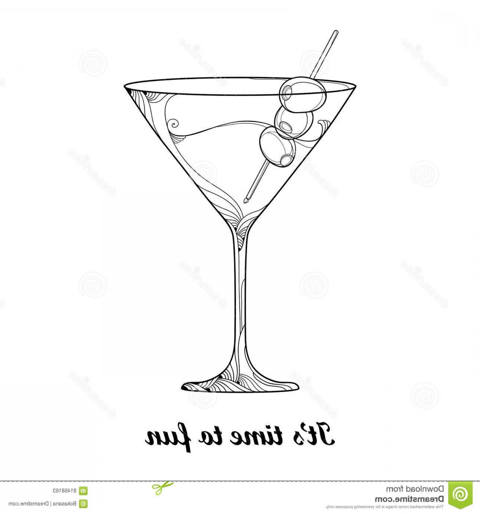 Cocktail Glasses Vector Art Decor.