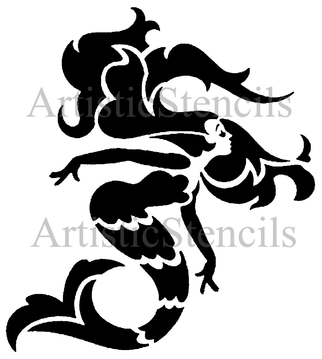 STENCIL Art Deco Mermaid 10x9 by ArtisticStencils on Etsy.
