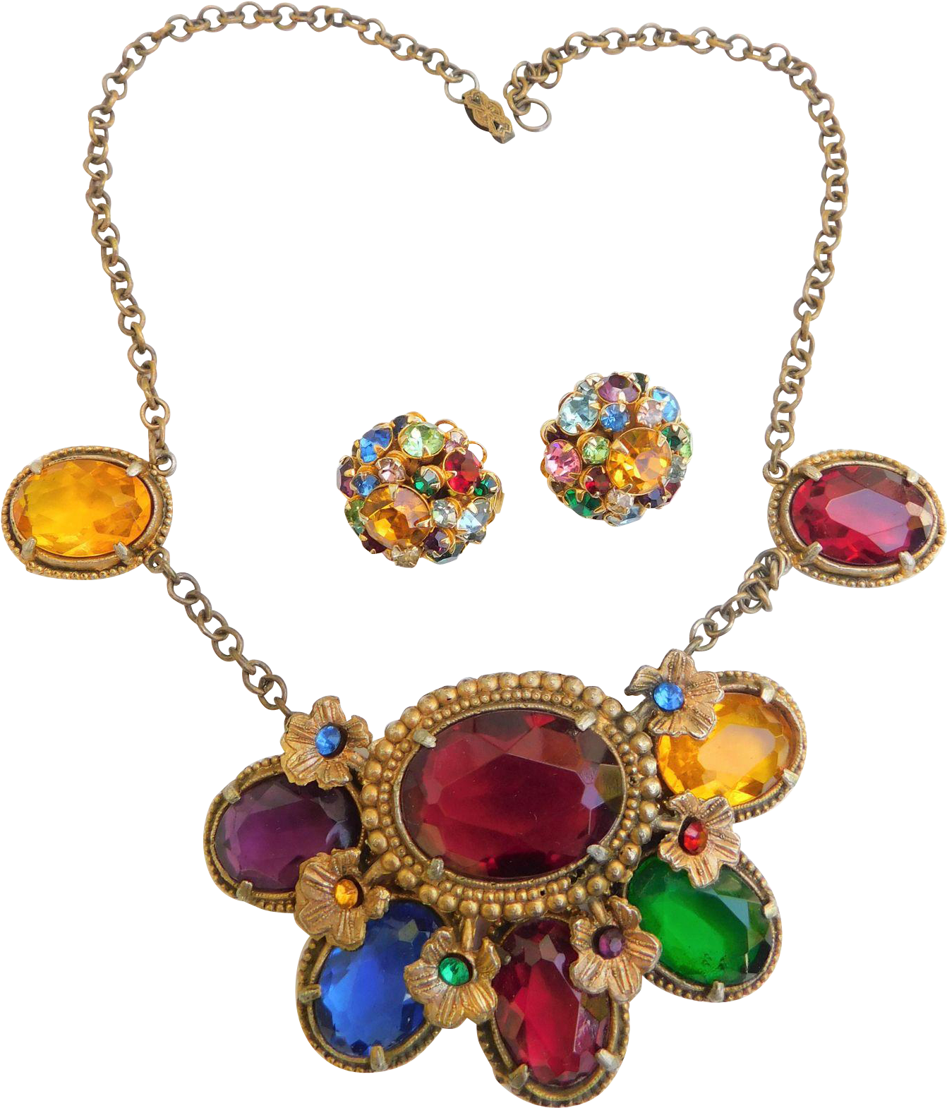 Fabulous Art Deco Moghul Royal Jewels Chunky Necklace.