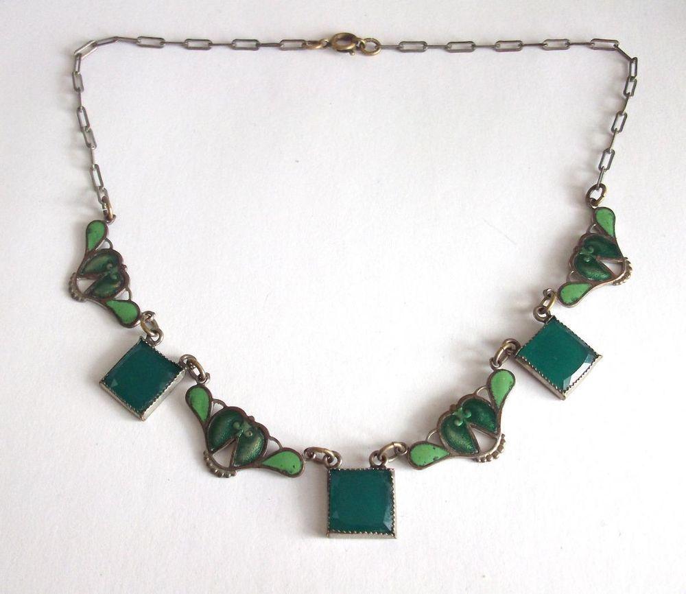 VINTAGE ART DECO OR NOUVEAU GREEN ENAMEL & GLASS PAPER CLIP.