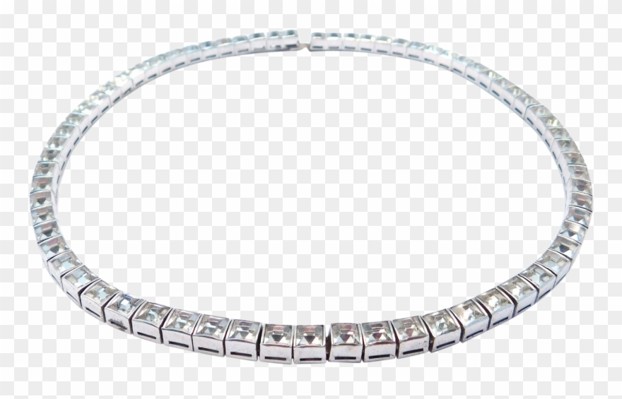 Art Deco Sterling Line Necklace Crystals Choker.