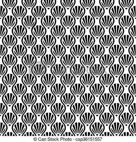 Seamless Art Deco abstract shell pattern..