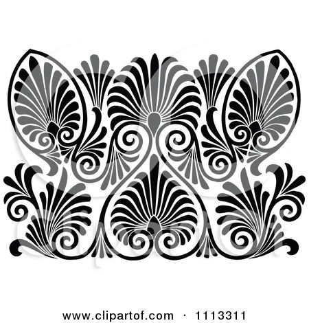 Clipart Vintage Black And White Art Deco Pattern.