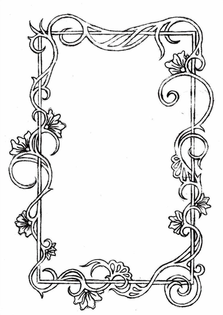 A hand drawn border inspired by Mucha\'s frames. Computer.