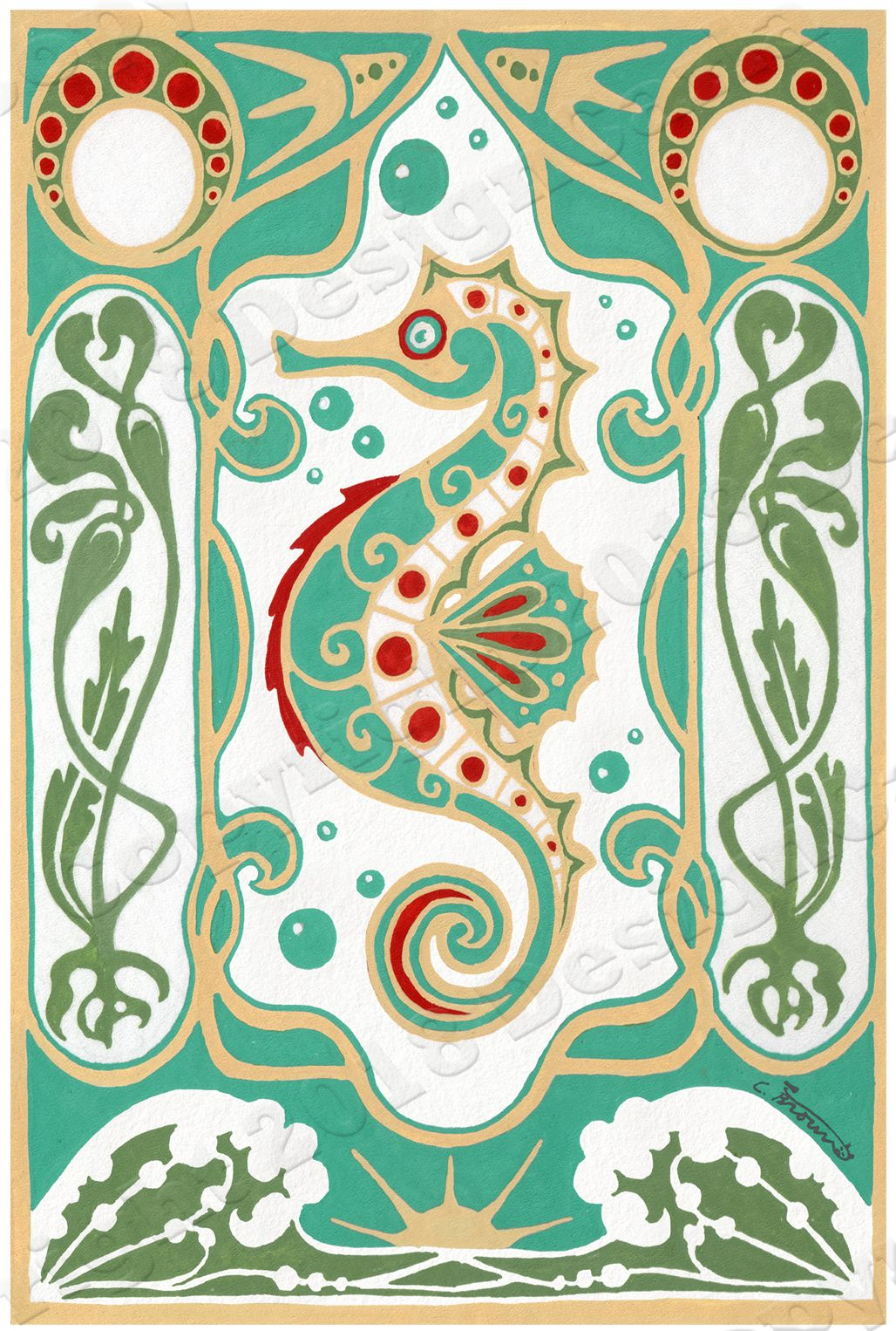 Seahorse Poster Art Nouveau Fine Print Turquoise and Gold.