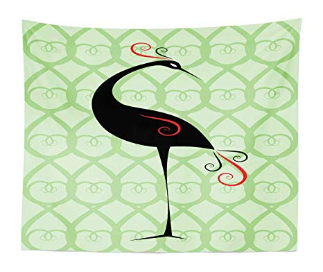 Amazon.com: Lunarable Crane Tapestry King Size, Art Deco.