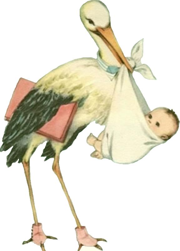 Vintage Stork with Baby Scrap.