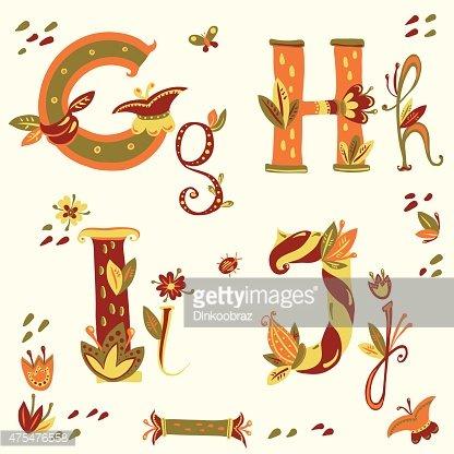 Vector colorful flower font. Art Deco alphabet Clipart Image.
