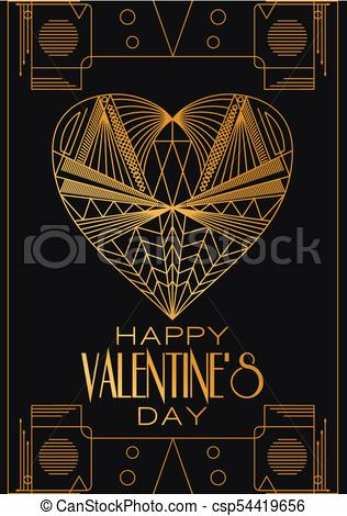Modern card Valentines Day.Vector image in classic art deco ret.