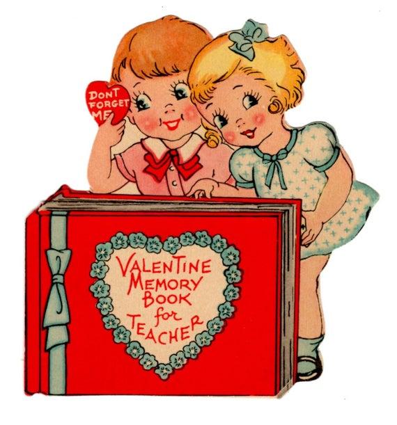Vintage 1920's Valentine Card Art Deco for Teacher.
