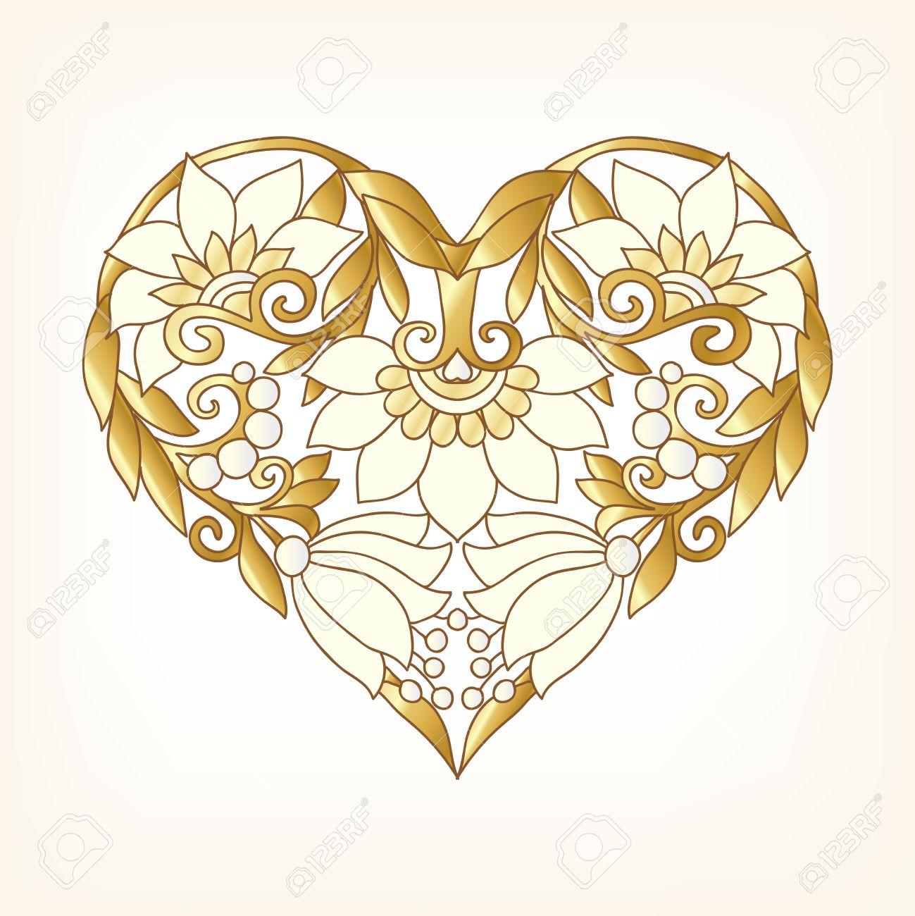 Gold Love Heart on whita background. Vector illustration. In...