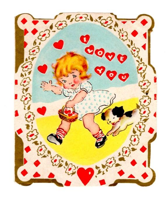 Vintage 1920's Valentine Card Art Deco.