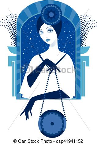 Graphic silhouette of a art deco woman.