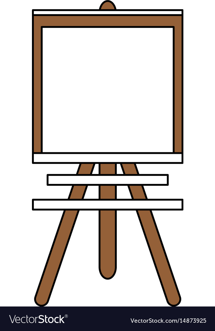 Color silhouette image cartoon wooden easel for.