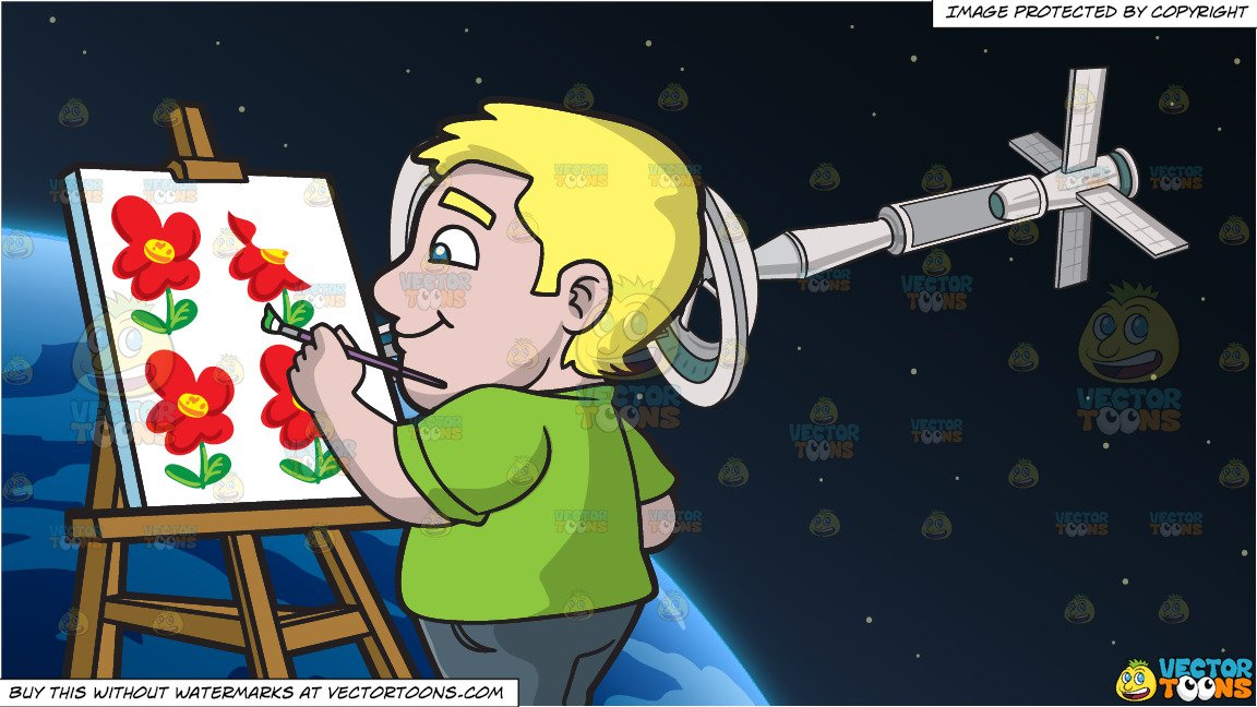 A Chubby Man Painting Flower Art On Canvas and Orbiting Space Station  Background.