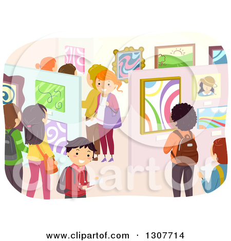 Clipart of a Crowd of Students in an Art Exhibit Gallery.
