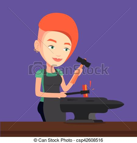 Vector Clip Art of Blacksmith working metal with hammer on the.