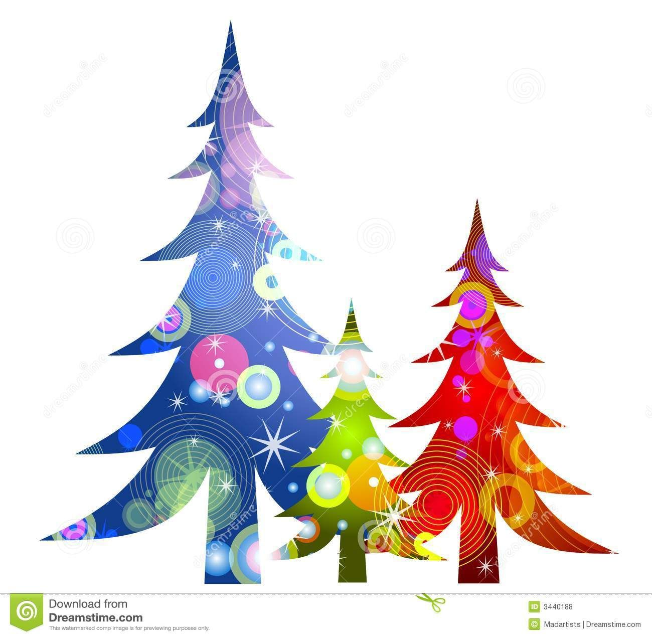 Retro Christmas Trees Clip Art Royalty Free Stock Photos.