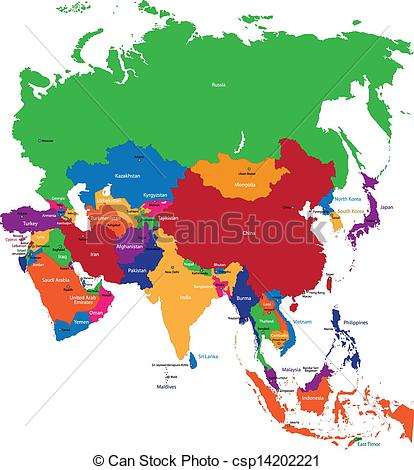 Vector Illustration of Colorful Asia map with country borders.