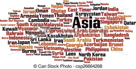 Clip Art Vector of Countries in Asia word cloud concept. Vector.
