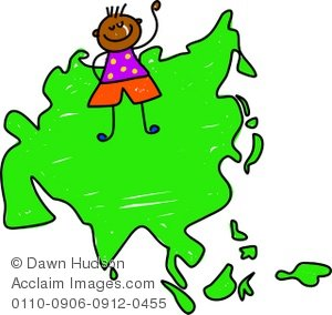 Clipart Illustration of a Little Ethnic Boy Standing on a Map of.