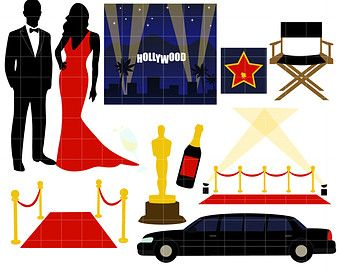 Hollywood Awards Night Gala Digital Clip Art for.