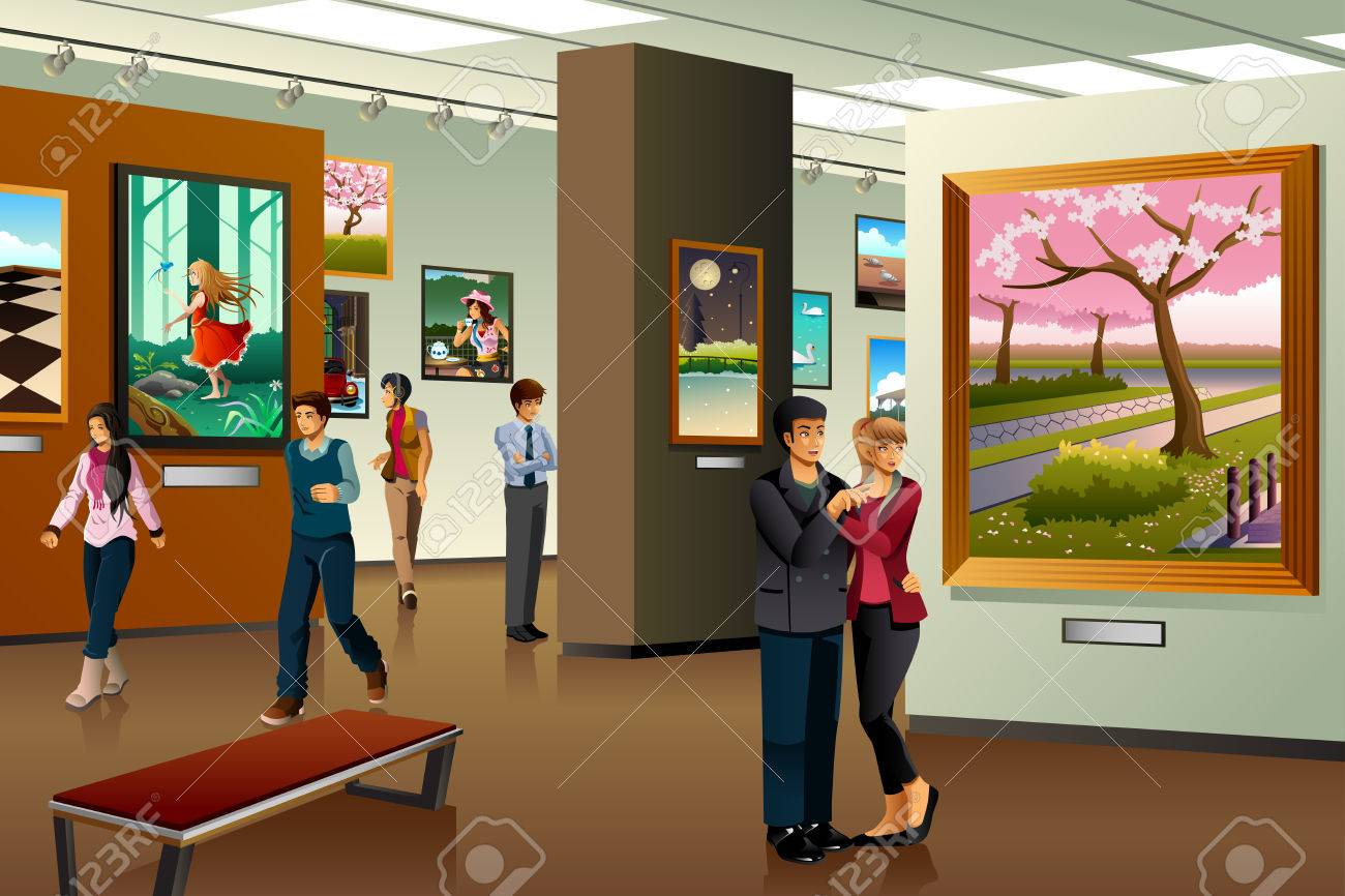 People Visiting an Art Gallery » Clipart Station.