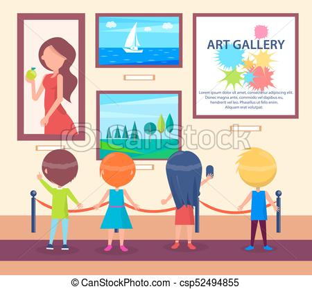 Children Visiting Art Gallery and Look at Pictures.