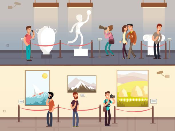 Best Art Gallery Interior Illustrations, Royalty.