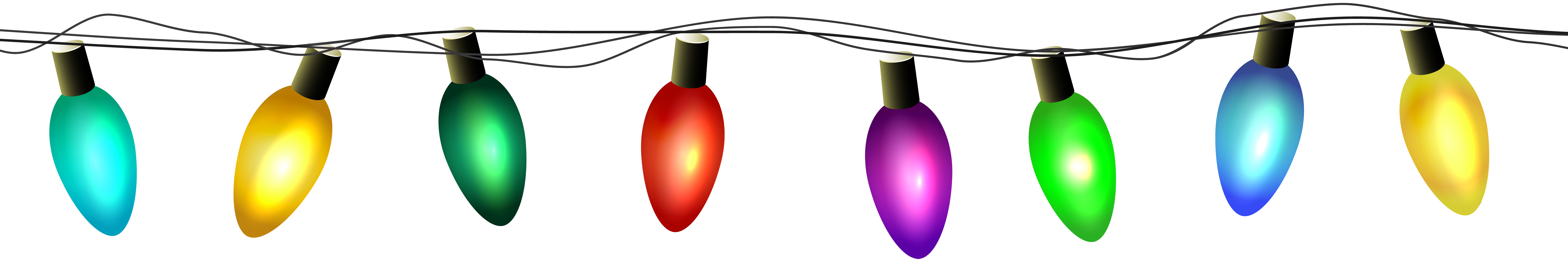 Christmas Lights Transparent PNG Clip Art.