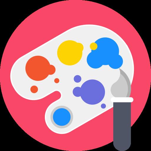 Art, artistic, brush, materials, paint, paintbrush, palette icon.