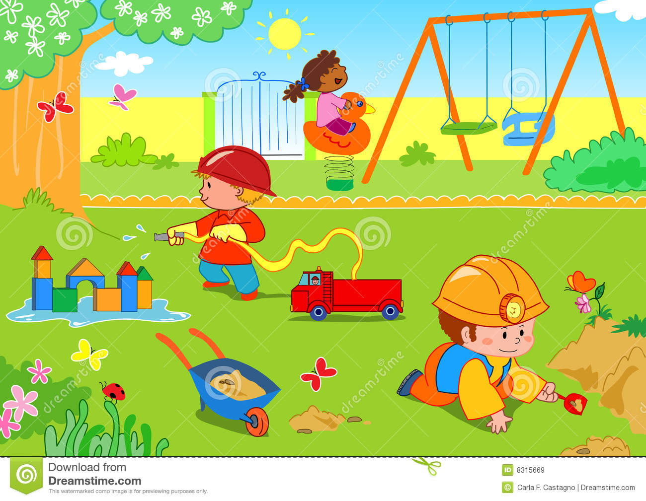 Children playing in a park clip art.