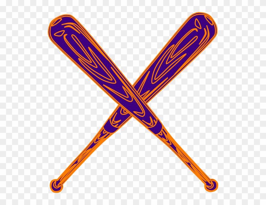 Baseball Bat Purple And Orange Clip Art.