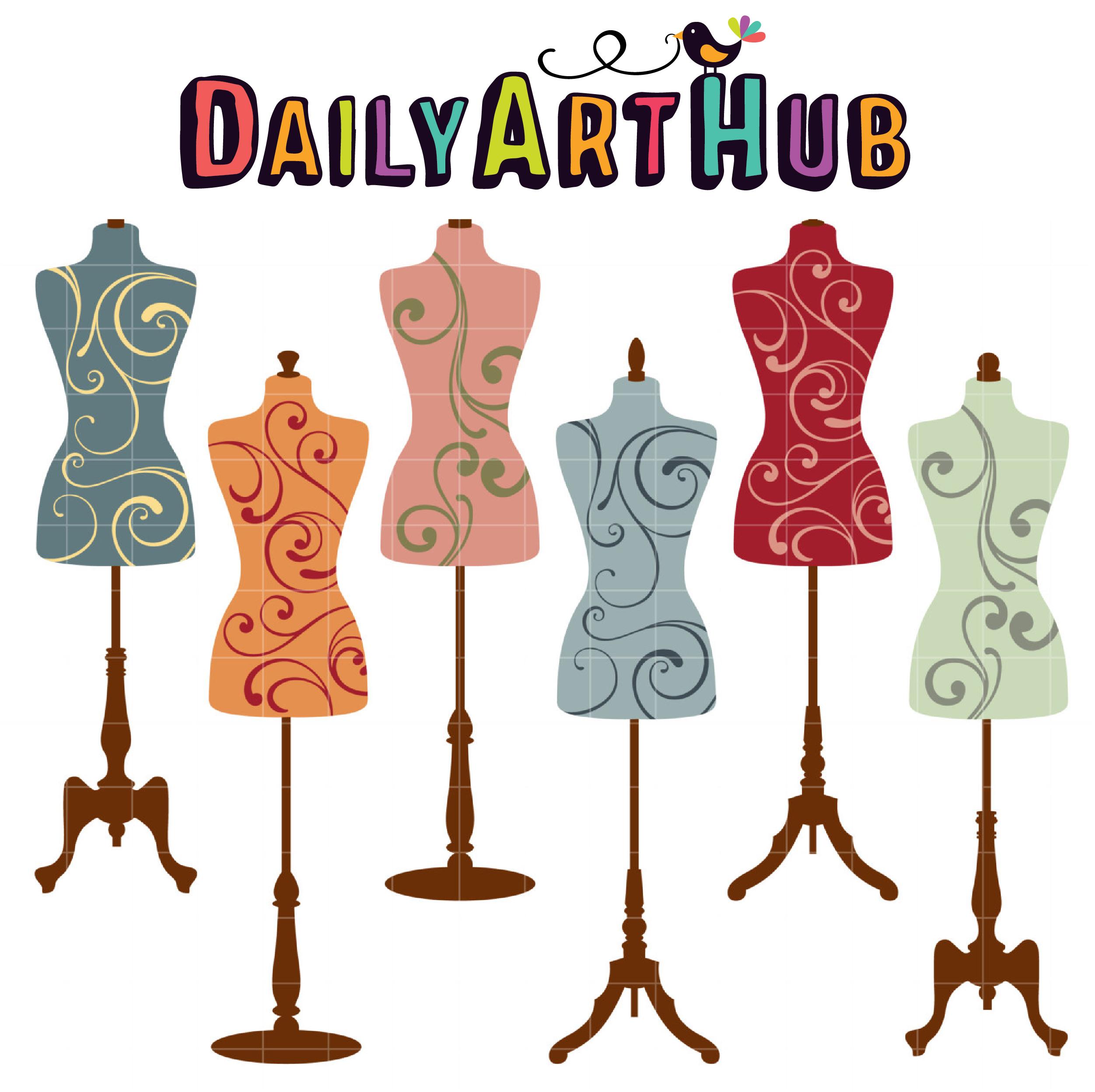 Vintage Mannequins Clip Art Set.