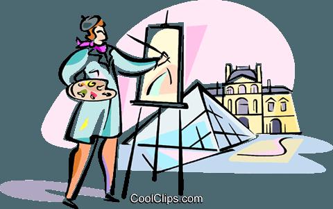 artist painting Louvre, Paris Royalty Free Vector Clip Art.