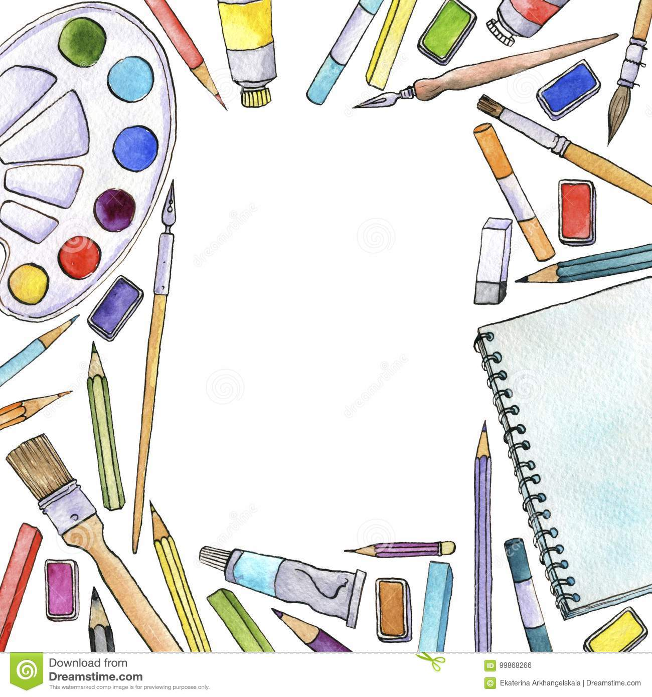 Watercolor Artistic Workspace Stock Illustration.