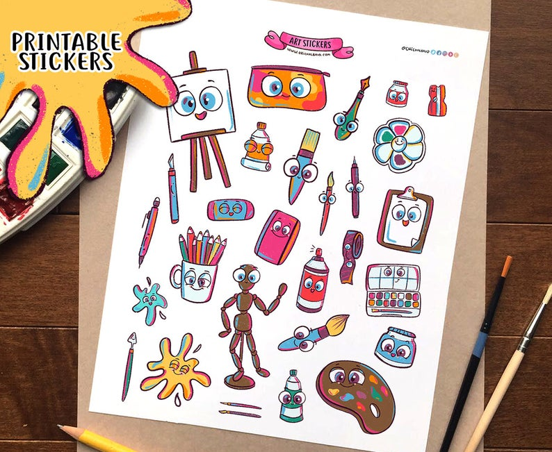 Artist Materials Clip Art Printable Stickers.